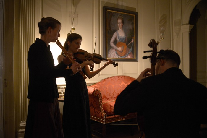 Tricia van Oers, Fiona Hughes, James Wilson and Carsten Schmidt performed sonatas for recorder and violin by Handel, Telemann and Corelli at the Wilton House Museum in Richmond on 12/13/15. Photo by Pat Jarrett