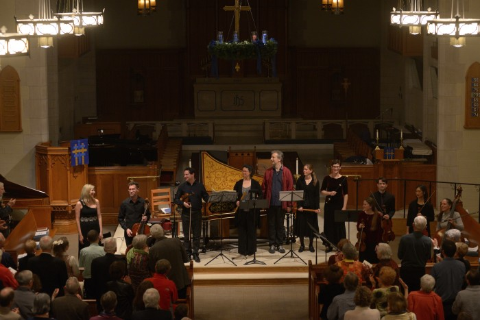 Martin Davids, Fiona Hughes, June Huang, Kyle Miller, James Wilson, Millie Martin, Mary Boodell, Tricia van Oers, Margaret Owens, Mary Elizabeth Bowden and Carsten Schmidt perform Bach's Brandenburg concertos at the Church of the Holy Comforter in Richmond on 12/15/15. Photo by Pat Jarrett